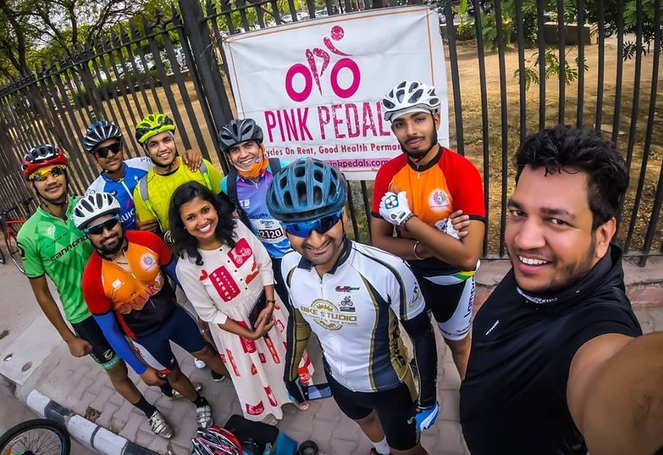 pink city on bicycles