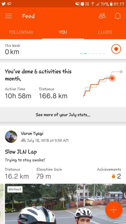 Strava app and profile of Varun Tyagi
