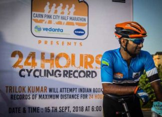 Trilok Kumar Swami sets a new record by covering over 600 km in 24 hours.