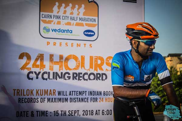 Trilok Kumar Swami sets a new record by covering over 600 km in 24 hours | 24 hours cycling record
