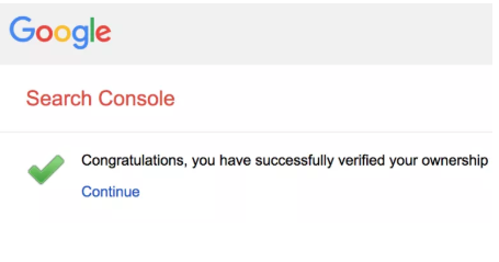 Successfully verified message in Google search console for sitemap addition