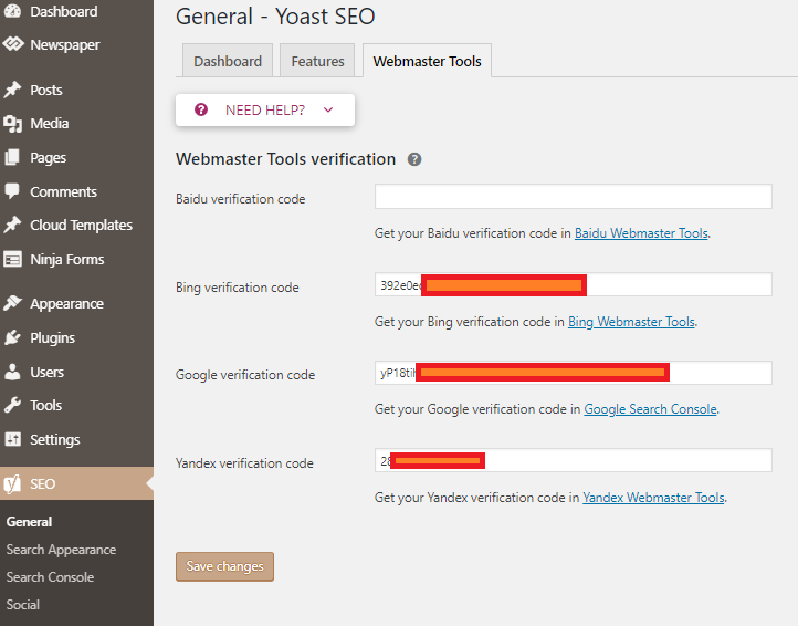 Webmaster tools in Yoast dashboard