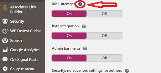 XML sitemap option in Yoast