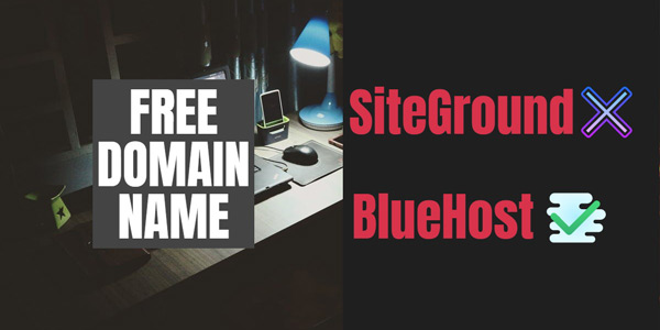 You get free domain with BlueHost but not with SiteGround | Hosting price comparison