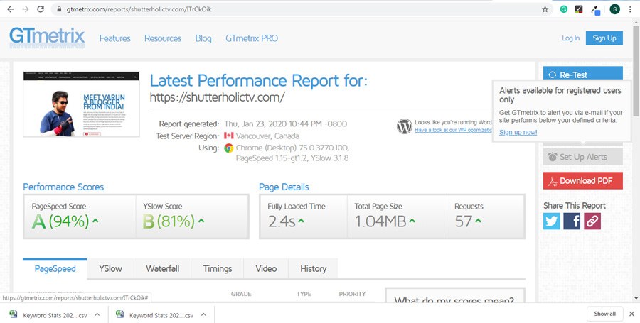 GTmetrix web page speed test gives you a lot of insights of your website.