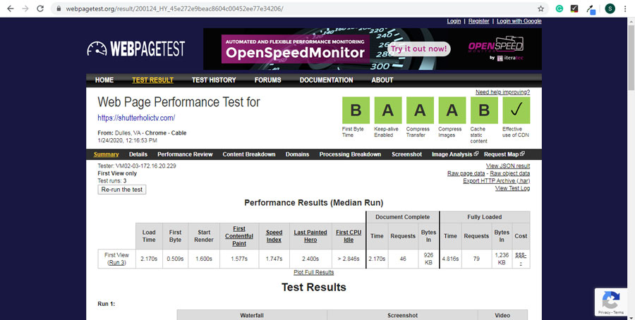 Webpagetest is amazing tool to test your website speed.