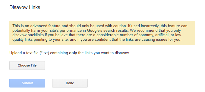 Final links for disavowing links in the tool | link removal tool