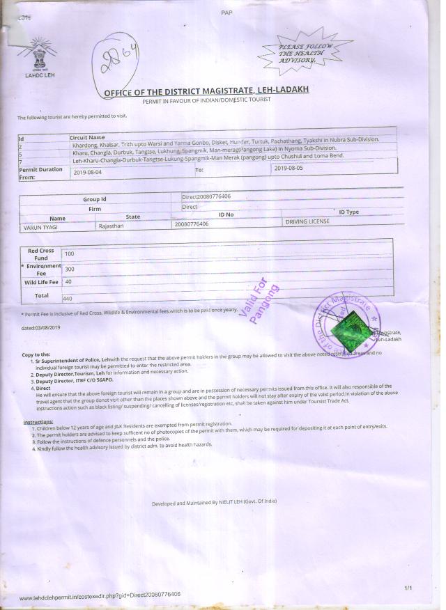 Inner Line Permit for Ladakh prohibited areas