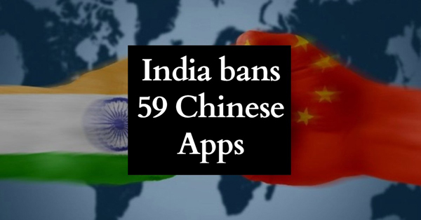 The Indian ministry of information technology ban 59 Chinese apps