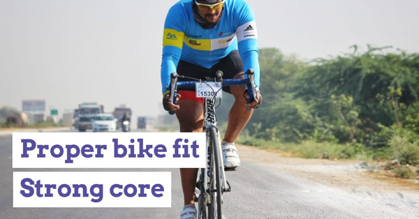 A proper bike fit and strong core is essential for reducing back pain.