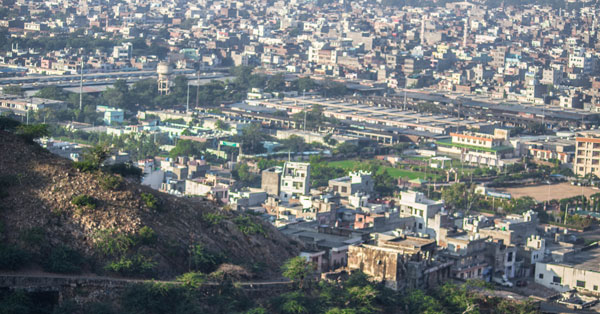 Panoramic view of Jaipur city from the top of the temple.