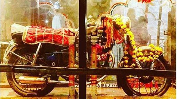 OM Banna motorcycle safely displayed at Om banna mandir