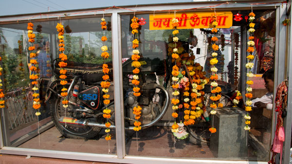 Motorcycle of Om Banna inside the temple