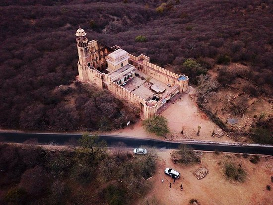 Drone view of the Charan temple in Jaipur