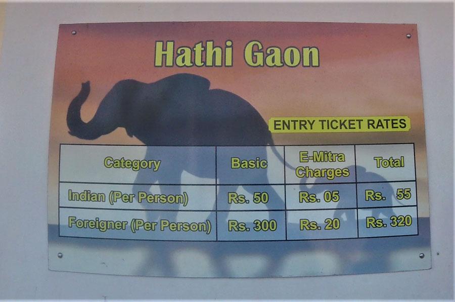 Ticket price at elephant village in Jaipur